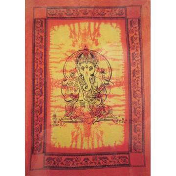 Grande Tenture Ganesh Tenture orange à franges 135 x 215 cm