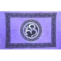 Grande Tenture motif Ohm Tenture à franges nuance de violet améthyste 135 x 215 cm