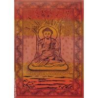 Grande Tenture Bouddha Arbre de vie cuivre orangé à franges 135 x 215 cm