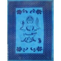 Grande Tenture motif Ganesh Tenture à franges nuance de Bleu 135 x 215 cm