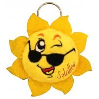 Porte clé Peluche Soleil Soleillou clin d'oeil et lunette de soleil