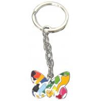 Porte clés papillon coloré porte-clé métal