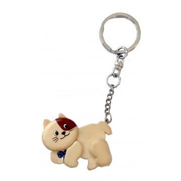 Porte clés chat Chaton beige en bois