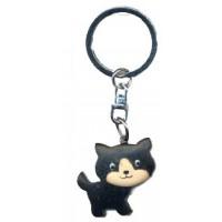 Porte clés chat Chaton noir en bois
