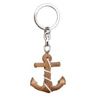 Porte clés ancre de bateau en bois