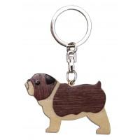 Porte clés chien bouldogue en bois