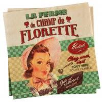 Serviettes en papier CHAMP DE FLORETTE Natives déco rétro vintage