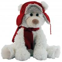 Peluche ours blanc avec bonnet et écharpe rouge