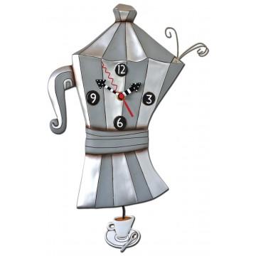 """Horloge """" Cafetière Italienne """" à balancier déco rétro vintage designs Allen"""