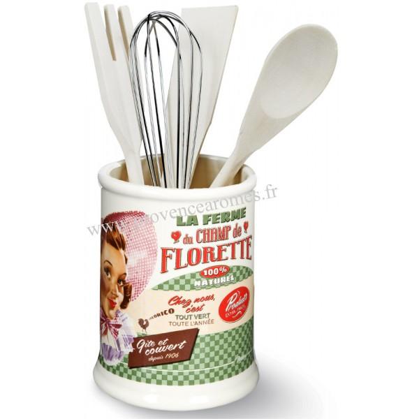 Pot ustensiles champ de florette natives d co r tro for Ustensiles de cuisine retro