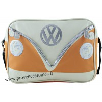 Sac vw combi Volkswagen orange et blanc à bandoulière Brisa rétro vintage collection