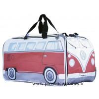 Sac de sport ou voyage vw combi Volkswagen rouge Brisa rétro vintage collection