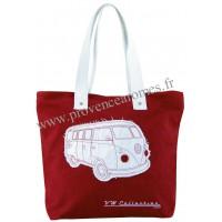 Sac Cabas en toile vw combi Volkswagen Rouge Brisa rétro vintage collection