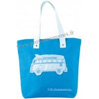 Sac Cabas en toile vw combi Volkswagen bleu Brisa rétro vintage collection