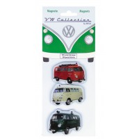 lot de 3 magnets vw combi vehicule Volkswagen rouge Brisa rétro vintage collection