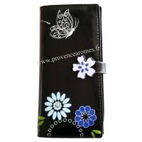 Portefeuille Compagnon noir Papillon Fleur