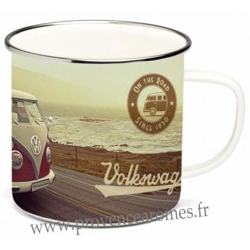 Mug métal émaillé combi Volkswagen rouge Brisa rétro vintage collection