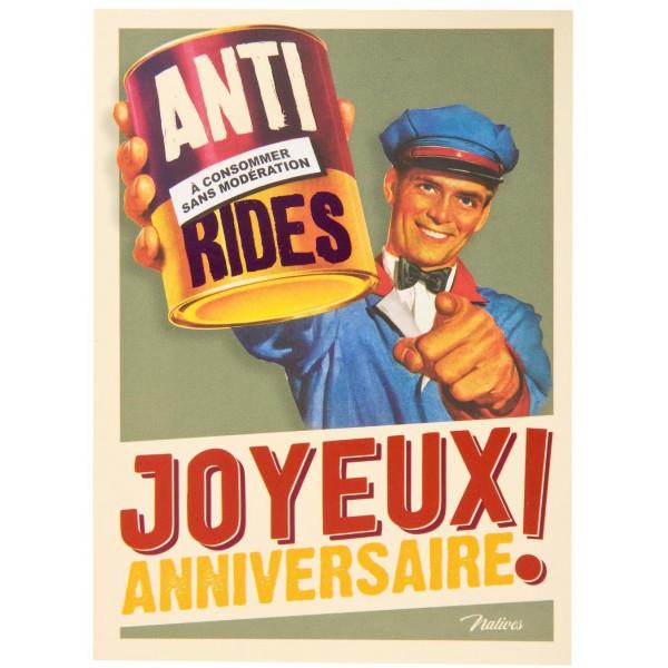 Carte Postale Anniversaire Anti Rides Natives Deco Retro Vintage