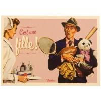 Carte postale C'EST UNE FILLE Natives déco rétro vintage humoristique