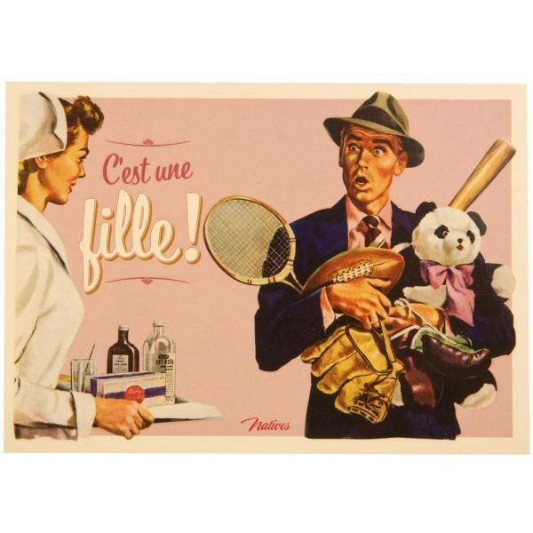 Carte Postale C 39 Est Une Fille Natives D Co R Tro Vintage Humoristique Provence Ar Mes Tendance Sud