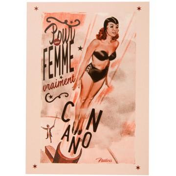 Carte postale FEMME CANON Natives déco rétro vintage humoristique