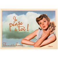 Carte postale JE PENSE À TOI Natives déco rétro vintage humoristique