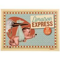 Carte postale LIVRAISON EXPRESS Natives déco rétro vintage humoristique
