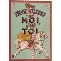 Carte postale MANÈGE À MOI Natives déco rétro vintage humoristique
