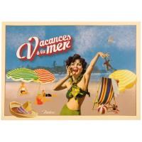 Carte postale VACANCE À LA MER Natives déco rétro vintage humoristique