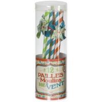Pailles Moulin dans le vent Bleuet Natives déco rétro vintage
