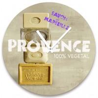 Horloge en verre déco SAVON DE MARSEILLE PROVENCE 100% Végétale rétro vintage