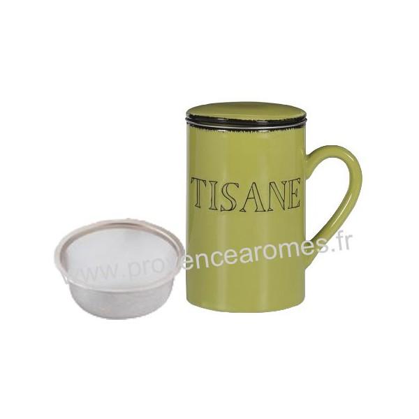 tisani re mug avec passoire et couvercle vert provence ar mes tendance sud. Black Bedroom Furniture Sets. Home Design Ideas