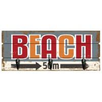 Accroche Torchons bois 3 crochets BEACH déco rétro vintage