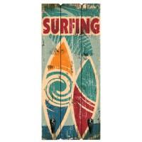 Accroche Torchons bois 2 crochets SURFING déco rétro vintage