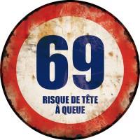 Plaque métal 69 TÊTE À QUEUE déco rétro vintage