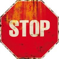 Plaque métal STOP déco rétro vintage