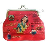 Porte Monnaie à clapet rouge Pin-up Serveuse déco rétro vintage