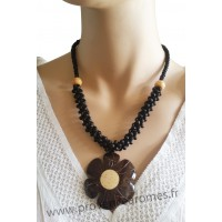 Collier fleur en noix de coco et bois marron et noir Lara Ethnics