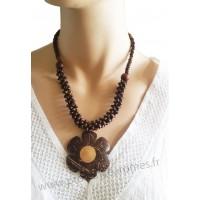 Collier fleur en noix de coco et bois marron Lara Ethnics
