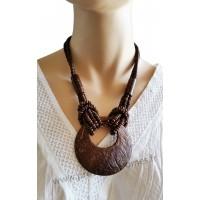 Collier en noix de coco pendentif rond Lara Ethnics