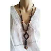 Collier en noix de coco pendentif losange Lara Ethnics modèle 2