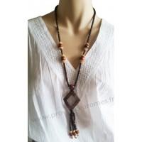 Collier en noix de coco pendentif losange Lara Ethnics modèle 4