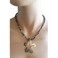 Collier de perles multicolores pendentif étoile de nacre Lara Ethnics
