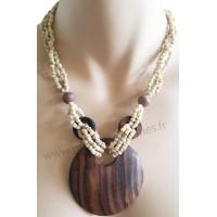 Collier de perles beiges pendentif cercle bois Lara Ethnics