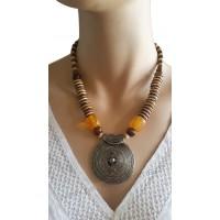 Collier beige et marron pendentif cercle métal Lara Ethnics