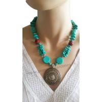 Collier bleu turquoise pendentif cercle métal Lara Ethnics