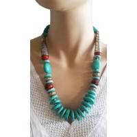 Collier bleu turquoise et métal Lara Ethnics