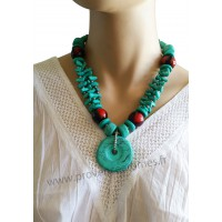 Collier bleu turquoise pendentif anneau turquoise Lara Ethnics
