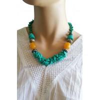 Collier bleu turquoise et perle orange Lara Ethnics
