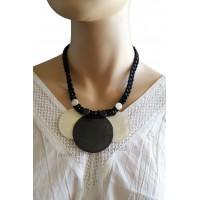 Collier cordon noir 3 cercles de nacre noir et blanc Lara Ethnics